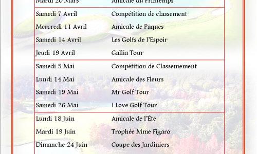 calendrier des compétitions GPRH 2018-1