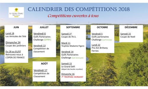 calendrier competitions juin-dec 2018