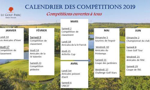 calendrier competitions 2019 1ere partie